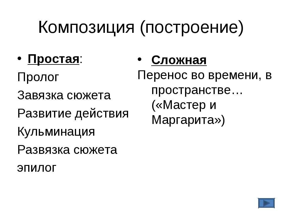 Композиция (построение) Простая: Пролог Завязка сюжета Развитие действия Куль...