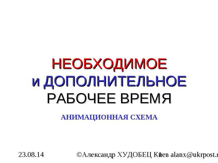 НЕОБХОДИМОЕ и ДОПОЛНИТЕЛЬНОЕ РАБОЧЕЕ ВРЕМЯ АНИМАЦИОННАЯ СХЕМА ©Александр ХУДО...