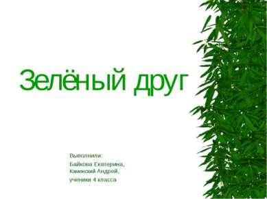Зелёный друг Выполнили: Байкова Екатерина, Каменский Андрей, ученики 4 класса
