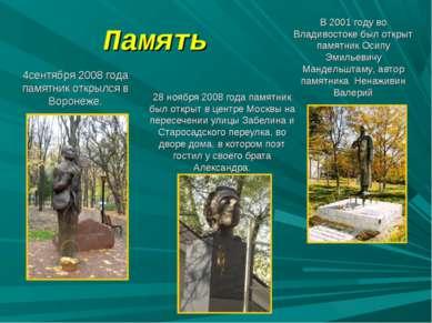 Память 28 ноября 2008 года памятник был открыт в центре Москвы на пересечении...
