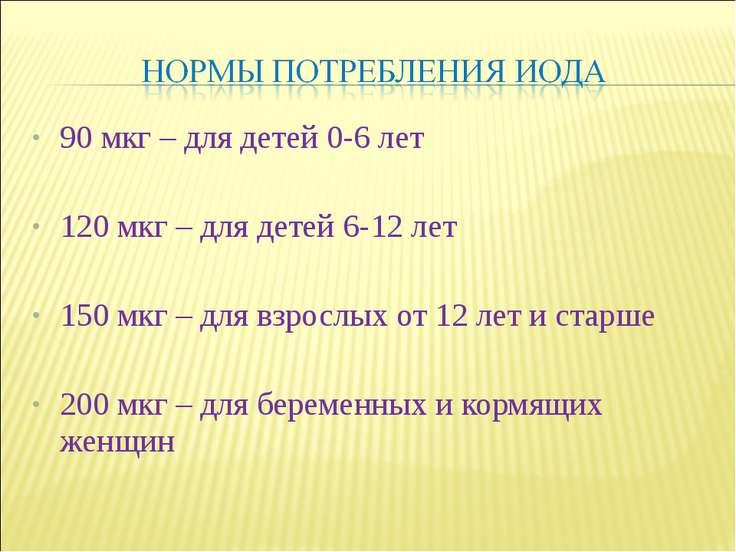 90 мкг – для детей 0-6 лет 120 мкг – для детей 6-12 лет 150 мкг – для взрослы...
