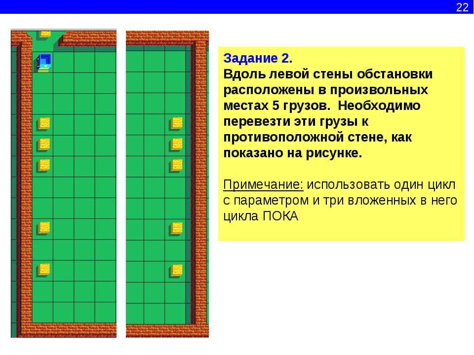 22 Задание 2. Вдоль левой стены обстановки расположены в произвольных местах ...