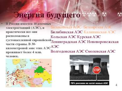 Энергия будущего В России имеется 10 атомных электростанций (АЭС), и практиче...
