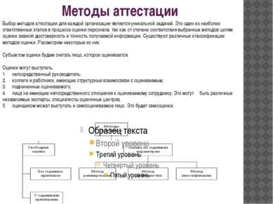 Методы аттестации Выбор методов аттестации для каждой организации является ун...