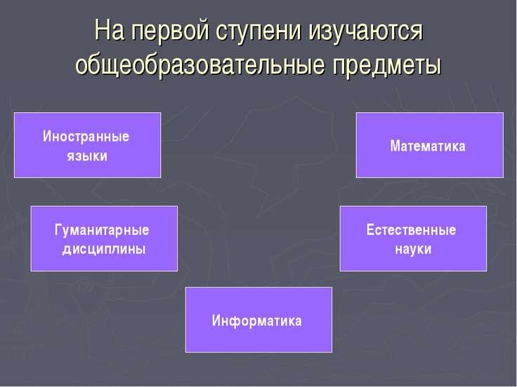 На первой ступени изучаются общеобразовательные предметы Иностранные языки Гу...