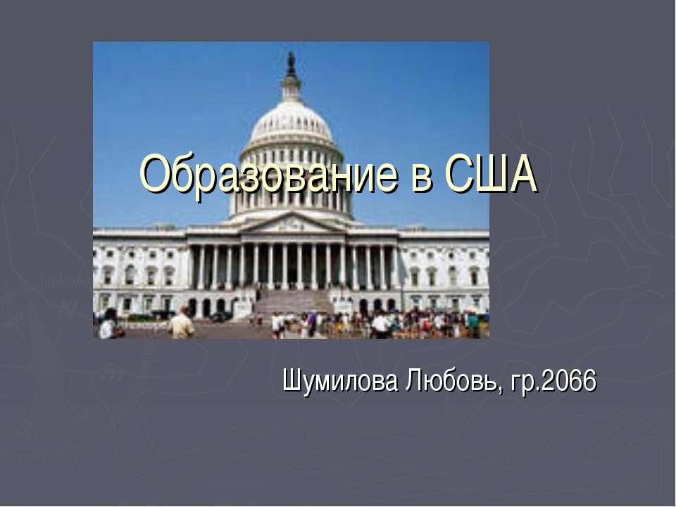Образование в США Шумилова Любовь, гр.2066