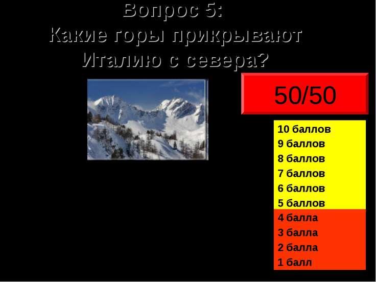 Вопрос 5: Какие горы прикрывают Италию с севера? 50/50
