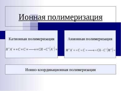 Ионная полимеризация Катионная полимеризация Анионная полимеризация Ионно-коо...