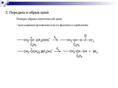 3. Передача и обрыв цепи Реакции обрыва кинетической цепи. присоединения прот...