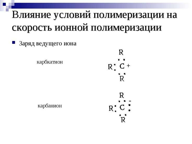 Влияние условий полимеризации на скорость ионной полимеризации Заряд ведущего...
