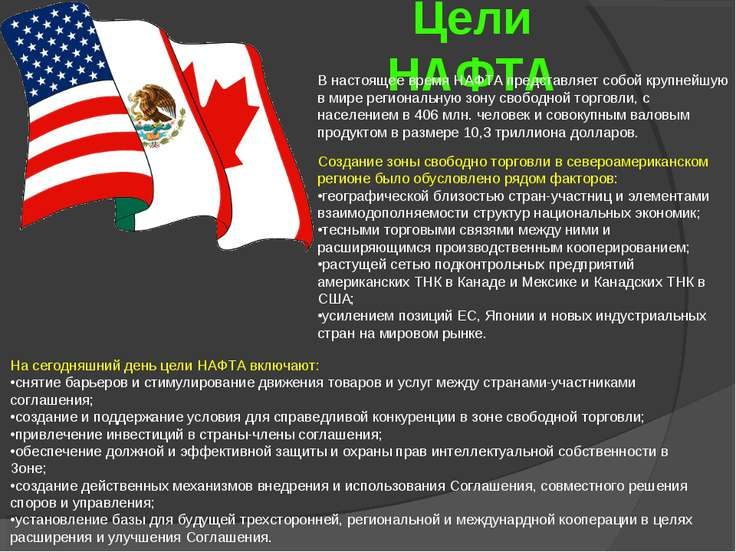 Цели НАФТА В настоящее время НАФТА представляет собой крупнейшую в мире регио...
