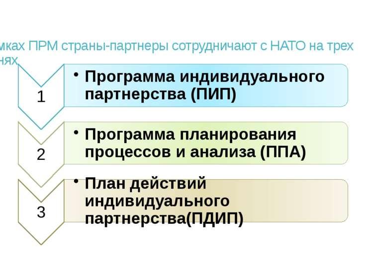 В рамках ПРМ страны-партнеры сотрудничают с НАТО на трех уровнях