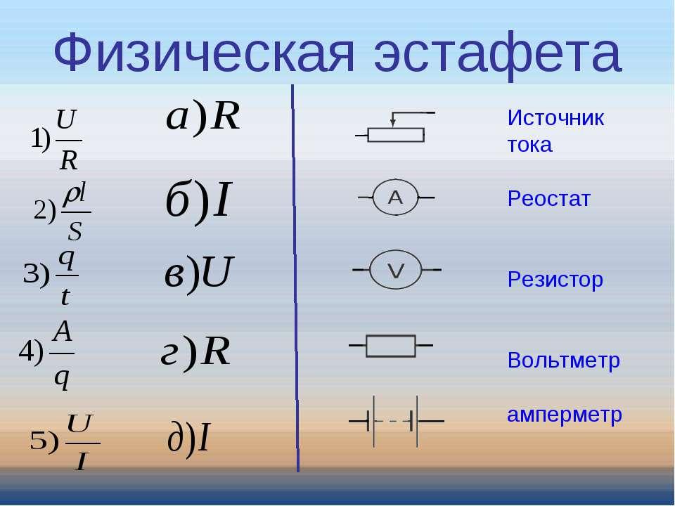 Источник тока Реостат Резистор Вольтметр амперметр Физическая эстафета