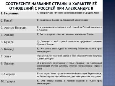 1. Германия А) соперничала с Россией за сферы влияния в Средней Азии 2. Китай...