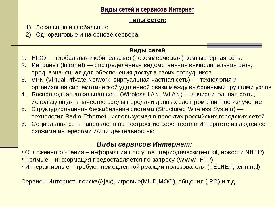 Виды сетей и сервисов Интернет Типы сетей: Локальные и глобальные Одноранговы...