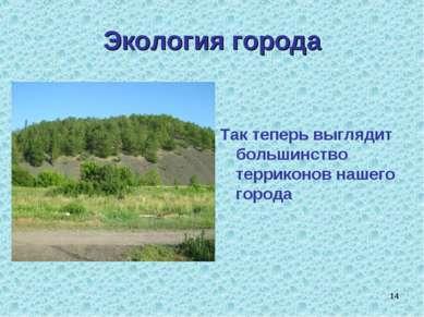 * Экология города Так теперь выглядит большинство терриконов нашего города