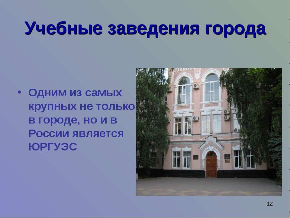 * Учебные заведения города Одним из самых крупных не только в городе, но и в ...