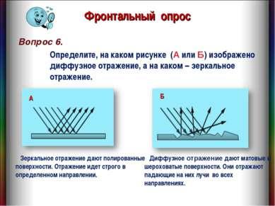 Вопрос 6. Фронтальный опрос Диффузное отражение дают матовые и шероховатые по...