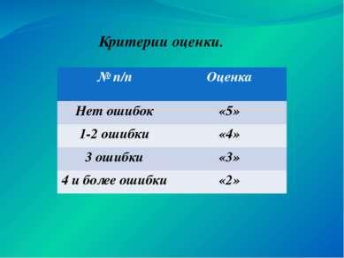 Критерии оценки. №п/п Оценка Нет ошибок «5» 1-2 ошибки «4» 3 ошибки «3» 4 и б...
