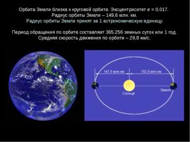 ОрбитаЗемлиблизкаккруговойорбите. Эксцентриситете = 0,017. Радиус орбит...