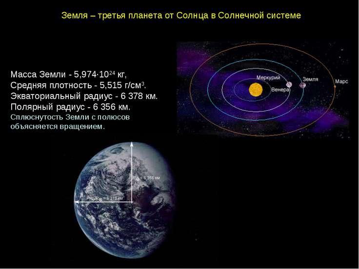 Земля–третьяпланетаотСолнцавСолнечнойсистеме МассаЗемли-5,974∙1024...
