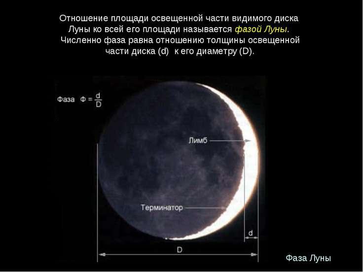 Фаза Луны Отношениеплощадиосвещеннойчастивидимогодиска Луныковсейег...