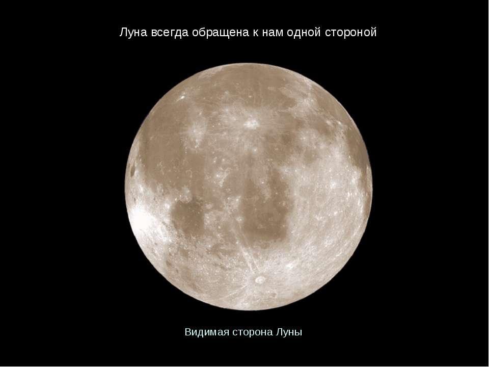 Видимая сторона Луны Луна всегда обращена к нам одной стороной