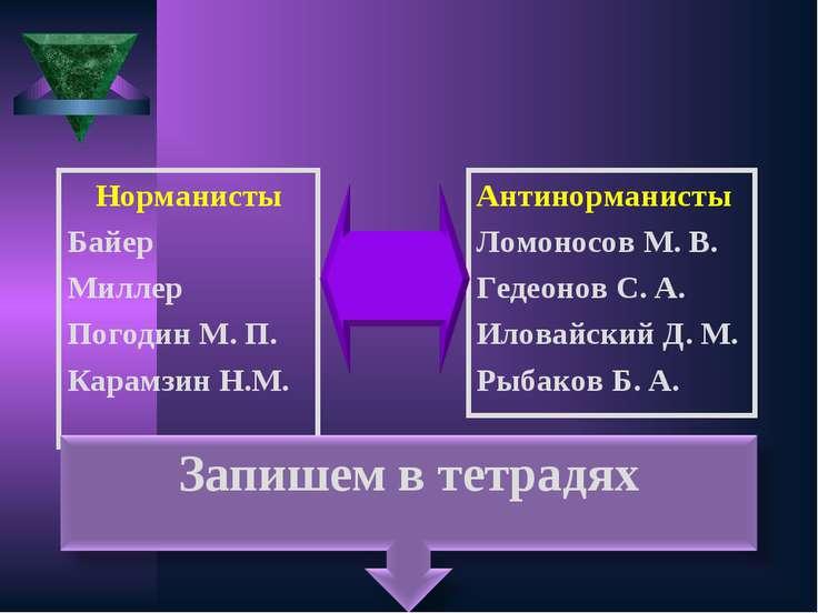 Норманисты Байер Миллер Погодин М. П. Карамзин Н.М. Антинорманисты Ломоносов ...