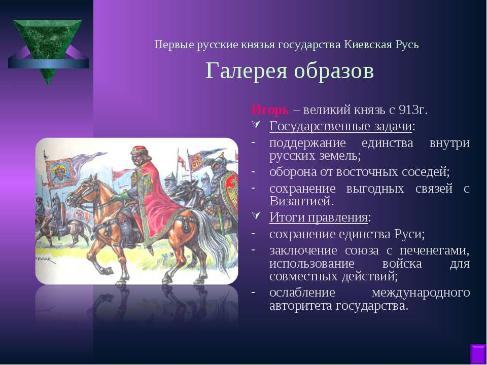 Первые русские князья государства Киевская Русь Галерея образов Игорь – велик...
