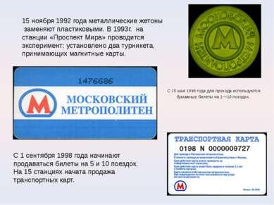 С 15мая 1996года для прохода используются бумажные билеты на1—10поездок. ...