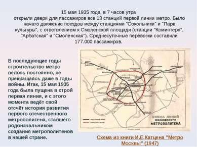 15 мая 1935 года, в 7 часов утра открыли двери для пассажиров все 13 станций ...