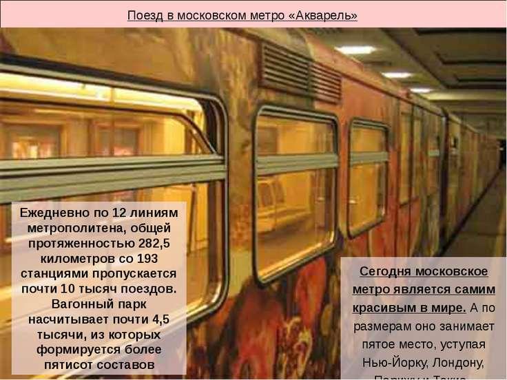Поезд в московском метро «Акварель» Ежедневно по 12 линиям метрополитена, общ...