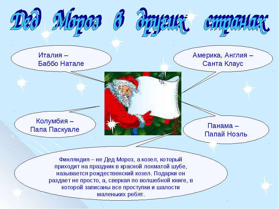 Америка, Англия – Санта Клаус Италия – Баббо Натале Колумбия – Папа Паскуале ...