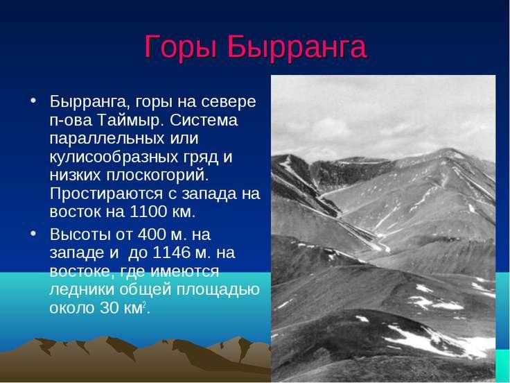 Горы Бырранга Бырранга, горы на севере п-ова Таймыр. Система параллельных или...