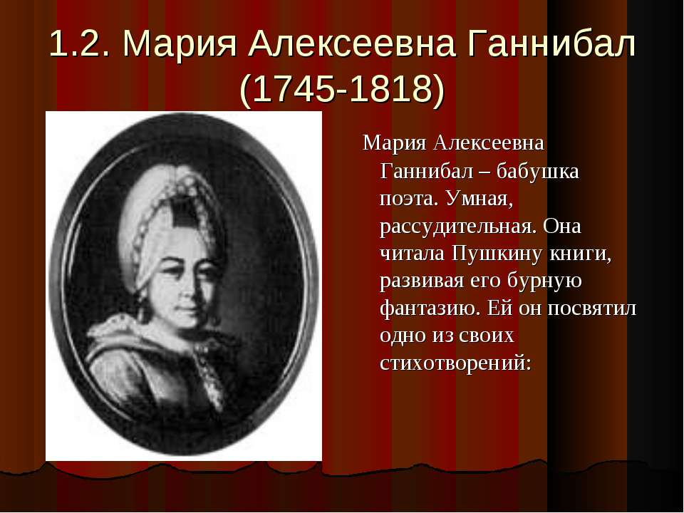 1.2. Мария Алексеевна Ганнибал (1745-1818) Мария Алексеевна Ганнибал – бабушк...