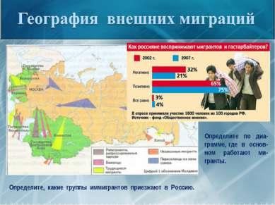 Определите, какие группы иммигрантов приезжают в Россию. Определите по диа-гр...