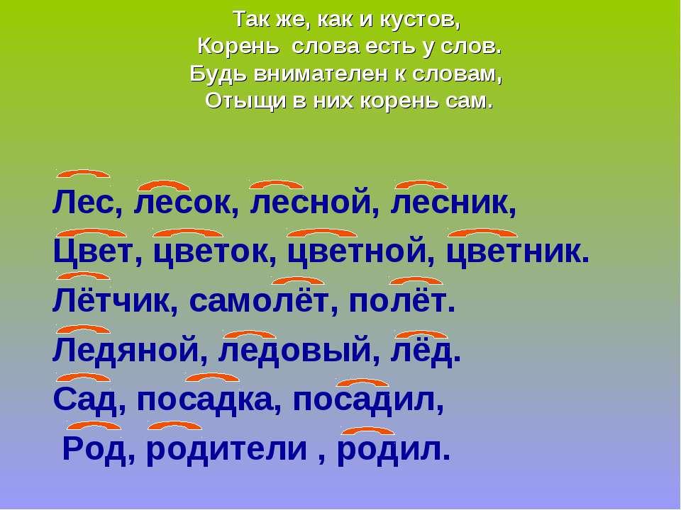 Так же, как и кустов, Корень слова есть у слов. Будь внимателен к словам, Оты...