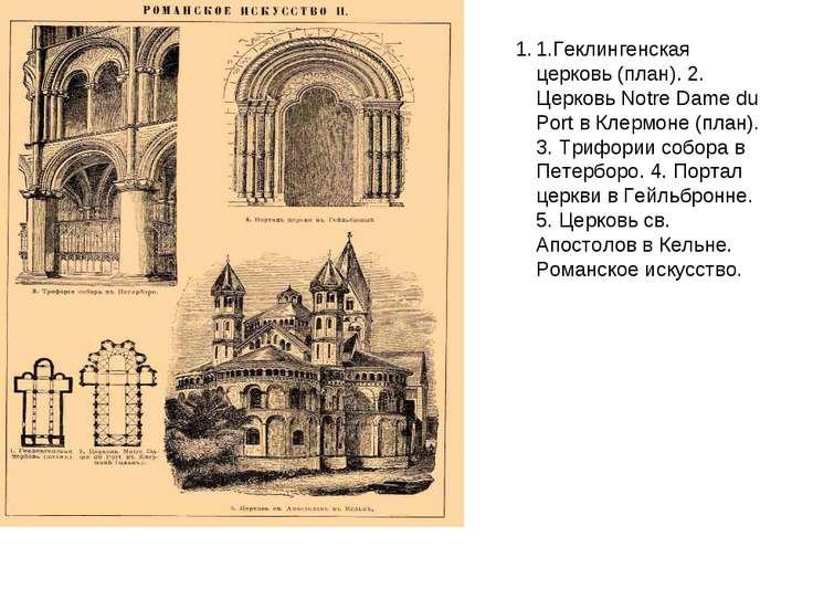 1.Геклингенская церковь (план). 2. Церковь Notre Dame du Port в Клермоне (пла...