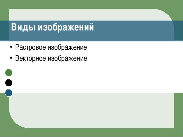 Виды изображений Растровое изображение Векторное изображение