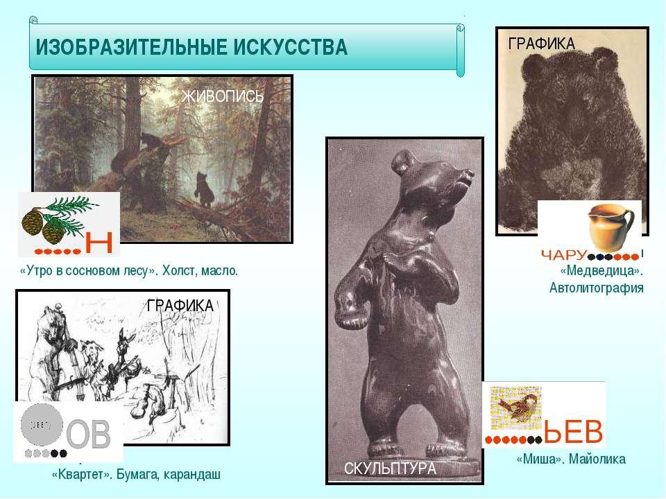 И.Шишкин «Утро в сосновом лесу». Холст, масло. В.Серов «Квартет». Бумага, кар...