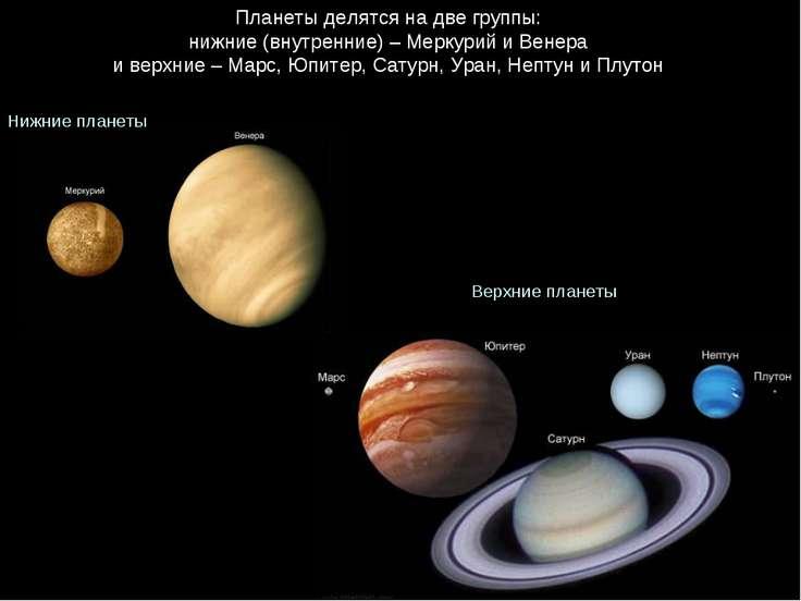 Планеты делятся на две группы: нижние (внутренние) – Меркурий и Венера и верх...