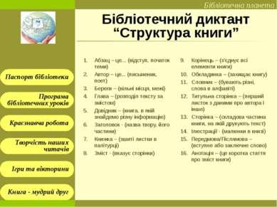 """Бібліотечний диктант """"Структура книги"""" Абзац – це... (відступ, початок теми) ..."""