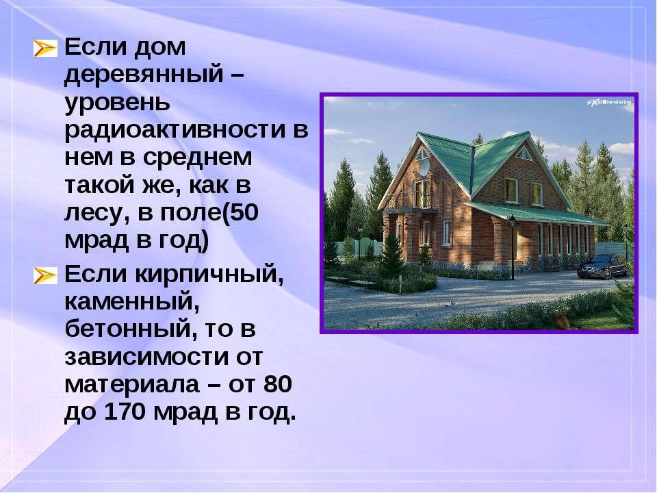 Если дом деревянный – уровень радиоактивности в нем в среднем такой же, как в...