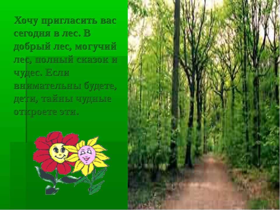 Хочу пригласить вас сегодня в лес. В добрый лес, могучий лес, полный сказок и...