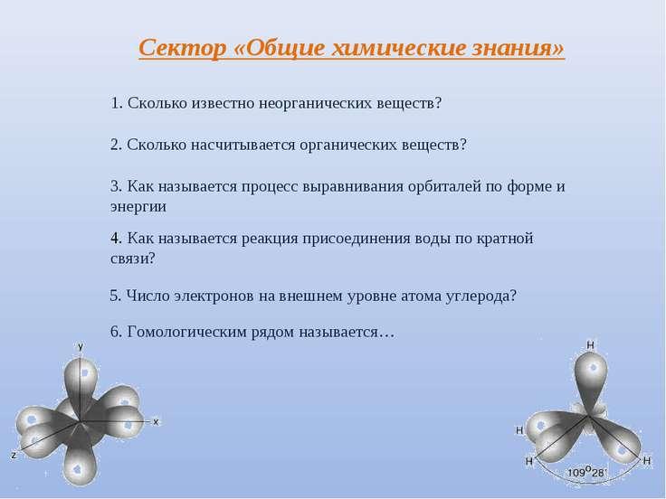 Сектор «Общие химические знания» 1. Сколько известно неорганических веществ? ...