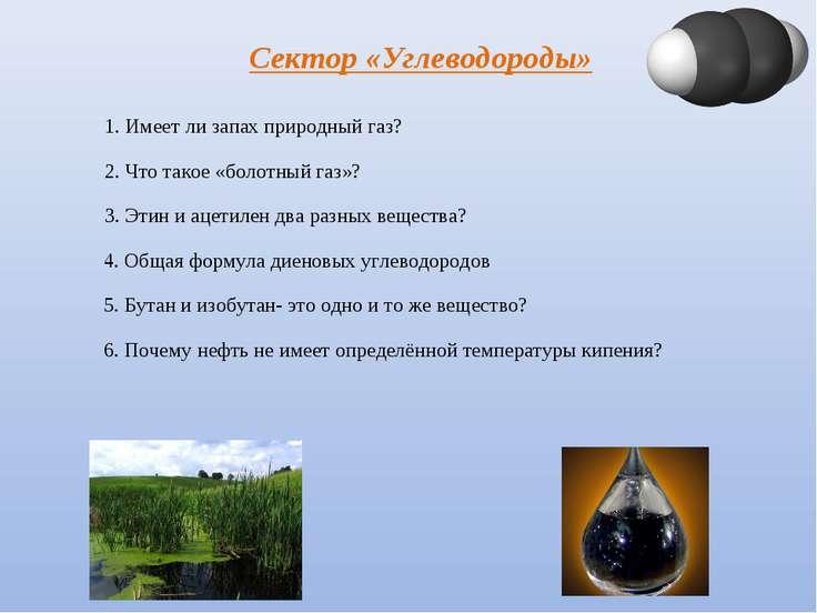 Сектор «Углеводороды» 1. Имеет ли запах природный газ? 2. Что такое «болотный...