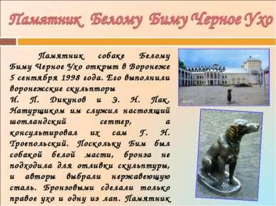 Памятник собаке Белому БимуЧерное Ухо открыт в Воронеже 5 сентября 1998 года...
