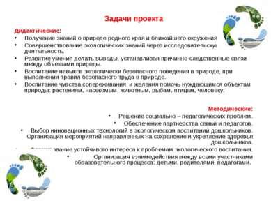 Задачи проекта Дидактические: Получение знаний о природе родного края и ближа...
