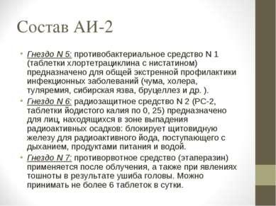 Состав АИ-2 Гнездо N 5: противобактериальное средство N 1 (таблетки хлортетра...