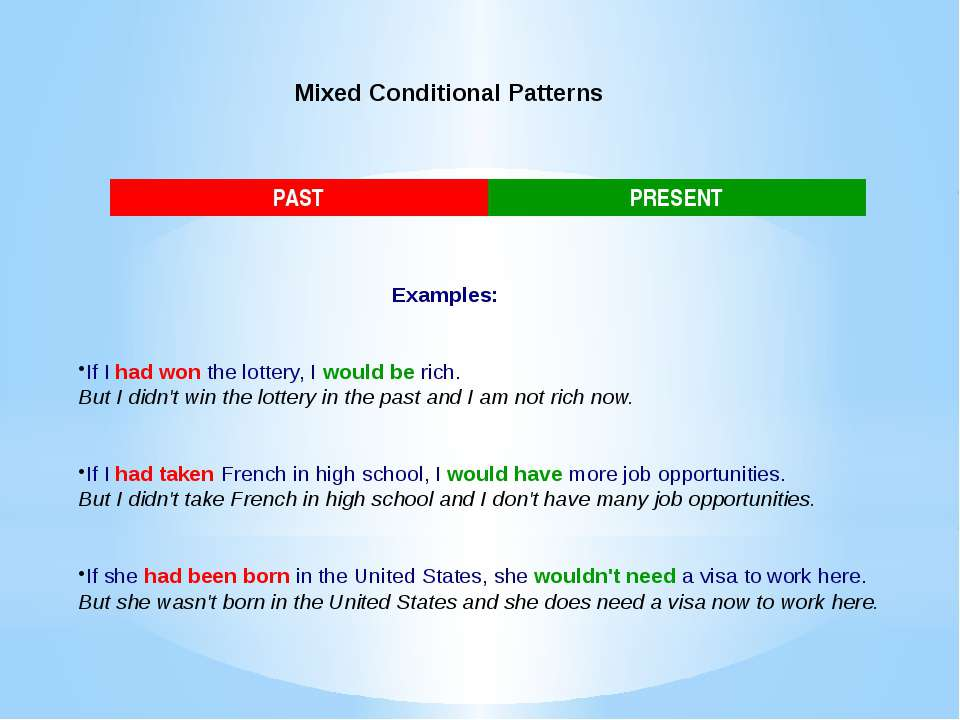 Mixed Conditional Patterns Examples: If I had won the lottery, I would be ric...
